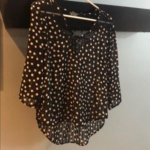 Women's Polka Dot Sheer 3/4 Sleeve Blouse